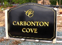 carbonton cove routed v groove hdu sign black 23kt gold leaf classic signs nc 200x144