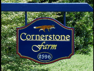 cornerstone farm hdu routed farm sign 23kt gold leaf with fox classic signs nc 315x239