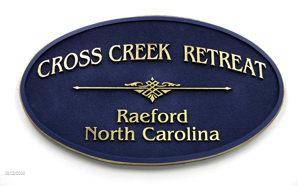 cross creek sandblasted hdu sign 23kt goldleaf classic signs nc 1024x641