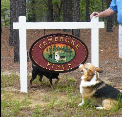 pembroke pines sandblasted house sign with pembroke corgi classic signs nc 250x240