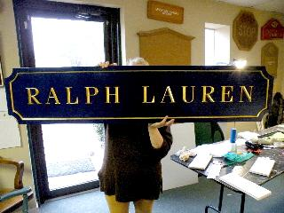 ralph lauren custom sign 23kt gold prismatic letters hand brushed background classic signs nc 320x240