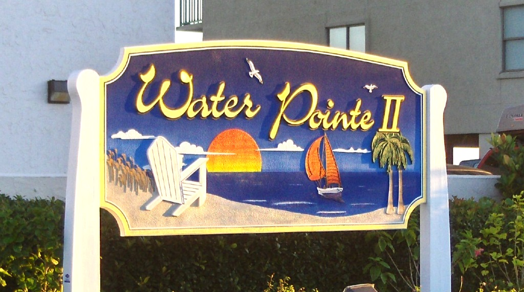 water pointe II sandblasted hdu sign gold leaf carved pine trees chair etc classic signs nc 1024x768