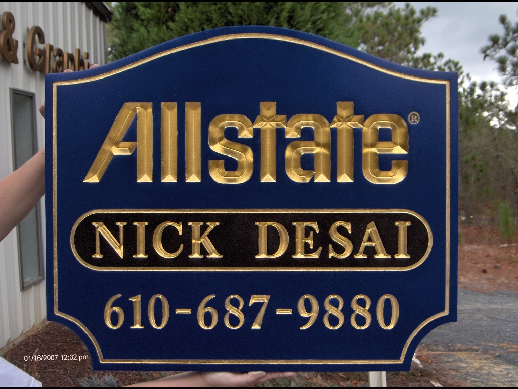 allstate v groove rout sign 23kt gold leaf classicsigns nc 1024x768