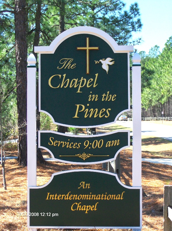 chapel in pines sandblasted church sign with 23kt gold leaf from classic signs nc 598x800