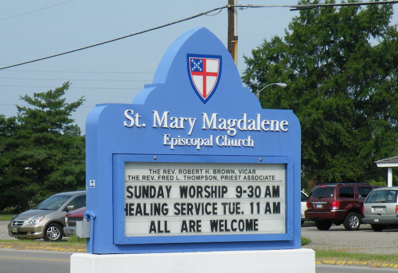 st mary hdu chuurch monument sign with changeable copy shield and message light up classic signs nc 800x550