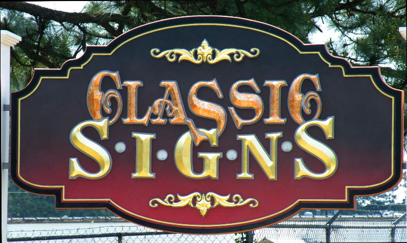 Classic signs nc sandblasted routed prismatic hdu gold leaf varigated metal leaf 600 leds inside 799x478 rev2