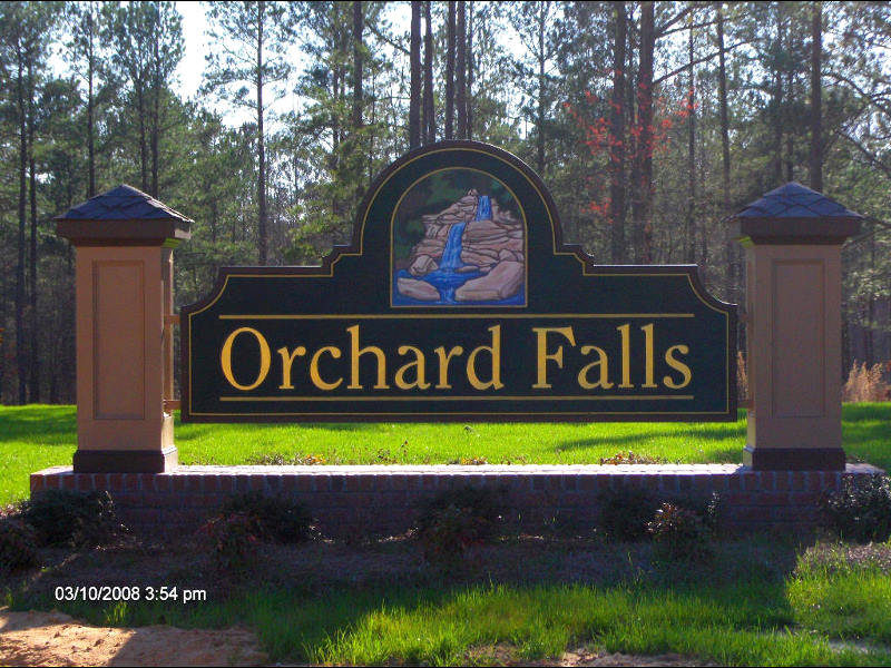 orchard falls front sub division sandblasted community sign with gold leaf classic signs nc800x600