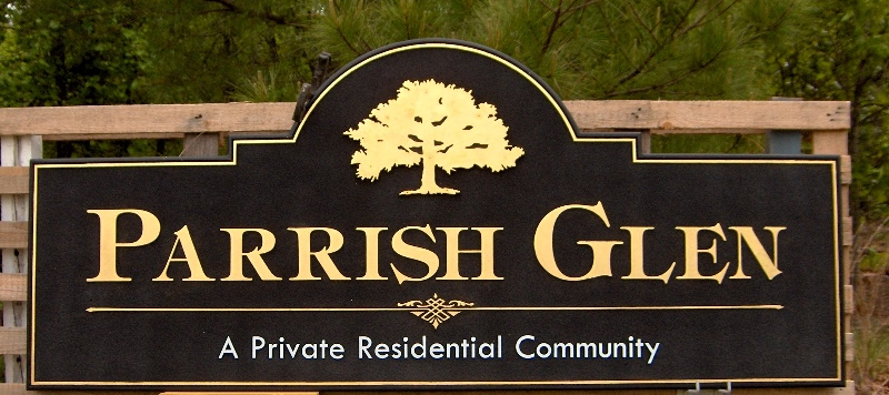 parrish glen 23kt gold leaf sandblasted community sign classic signs nc 800 356