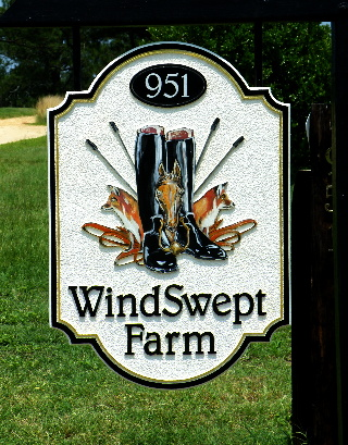 Windswept farm sandblasted hdu farm sign with hand painted emblem classic signs nc320x240