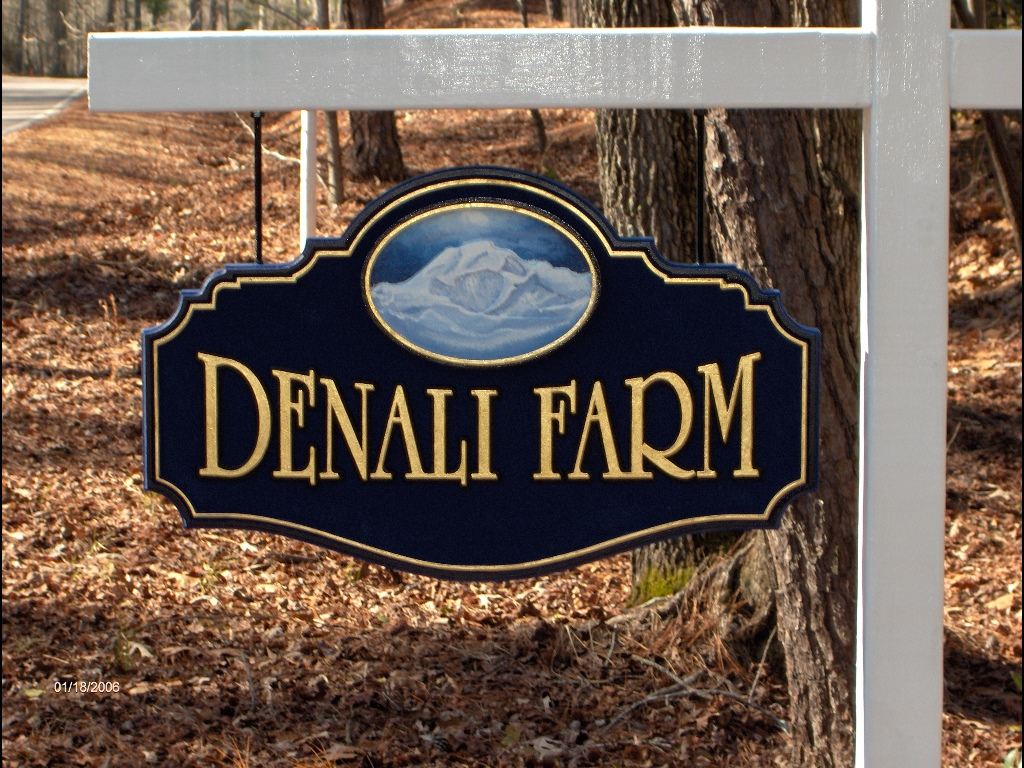 denali farm custom sandblast hanging sign 23kt gold letters classic signs nc 1024x768