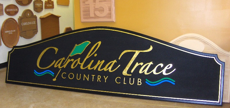 carolina trace country club sandblasted sign gold leaf classic signs nc 800x377