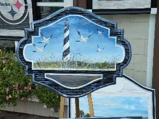 cast molded=hdu sign hand painted lighthouse beach scene classic signs nc320x240