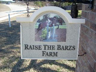 Raise the barzs horse farm sandblasted sign with print Classic signs nc 320x240