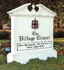village chapel sandblasted hdu traditional custom sign monument from classic signs nc 220x180ish
