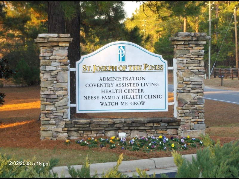 st joseph community entrance sign hdu sandblasted prismatic gold letters classic signs nc 800x600