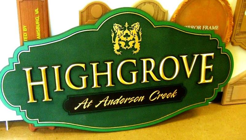 highgrove sandblasted community sign with gold leaf prismatic letters classic signs nc 800x456