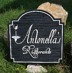 antonellas ristorante sandblasted hanging sign classic signs nc 320x240