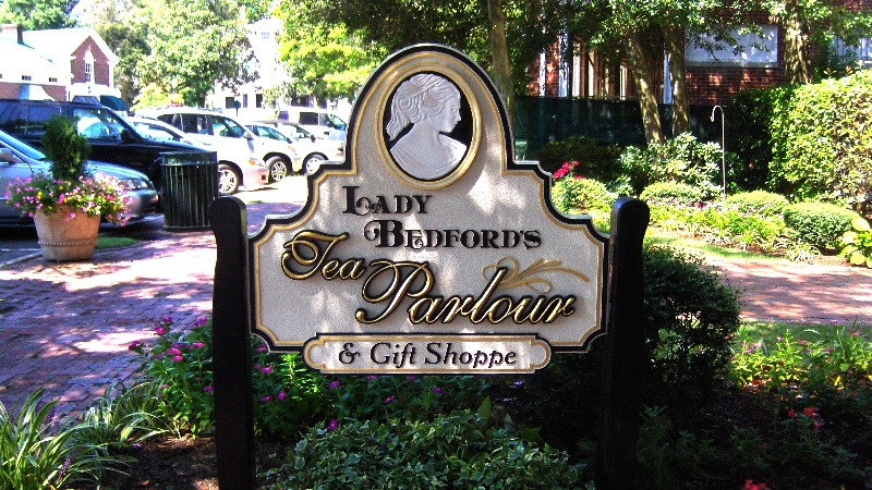 lady bedfords tea custom sandblasted hand carved restaurant sign prismatic gold leaf letters classic signs nc 800x440