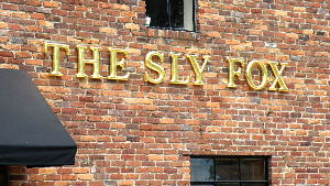 sly fox english pub formed letters with 23kt gold looks amazing at night classic signs nc 300x169