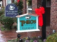 theos restaurant cast molded hdu signblank sign classic signs nc 200x150