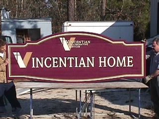 vIncentian Home sandblasted redwood sign classic signs nc 320x240