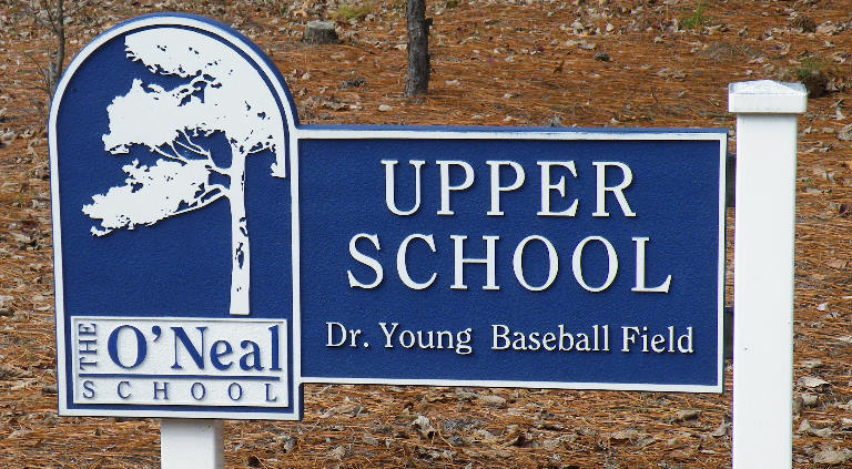 oneal school sandblasted hdu signs classic signs nc 768x423