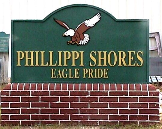 philllipi shores school sign sandblasted hdu classic signs nc 540x428