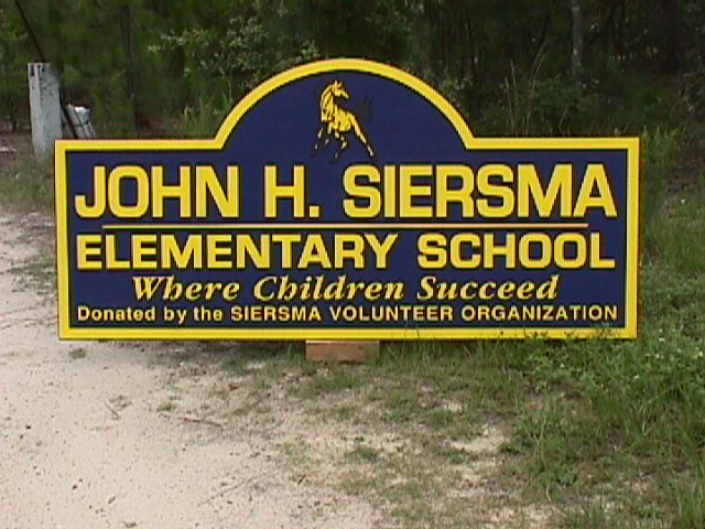 siersma school sandblasted hdu entrance sign classic signs nc