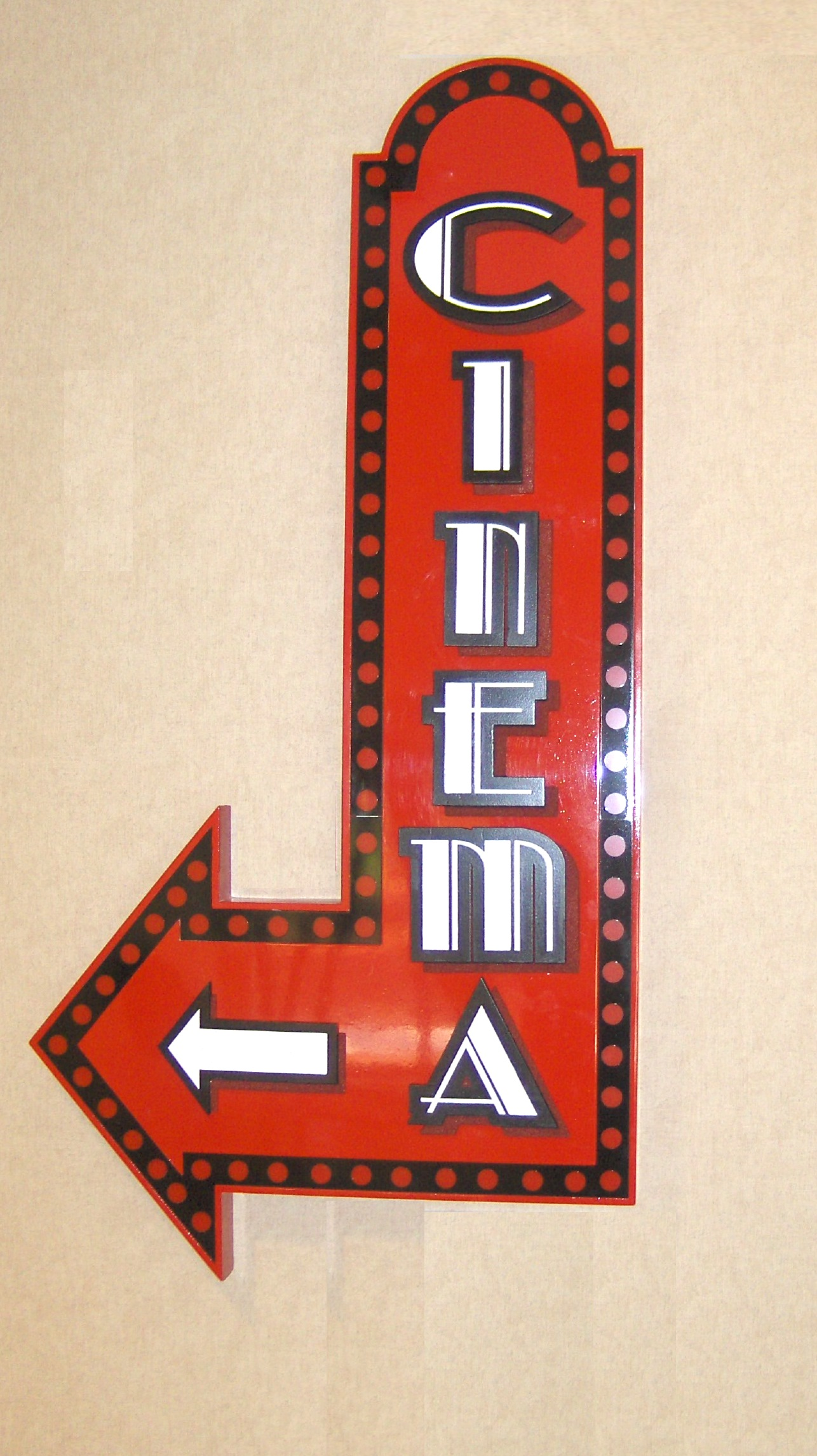 cinema sign with internal leds to light red dots also dimensional letters from classic signs nc