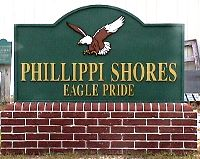 Philllipi Shores School sign sandblasted hdu Classic Signs NC 200x159
