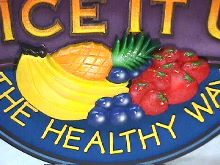 juiceit hand carved stylized fruit on shop business sign 220x165
