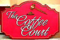 The Coffee Court custom designed Sandblasted HDU restaurant sign classic signs nc 200x132